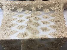 Lace Fabric Sequins Mesh For Bridal Veil-Wedding Decoration Gold-champagne Yard