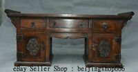"""21"""" Old Chinese Huanghuali Wood Hand Carved Flower Drawer Cabinet Furniture"""