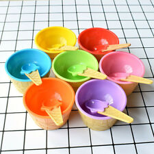 1/3/6* Kid Plastic Ice Cream Bowls Spoons Set Durable Ice Cream Dessert Bowl Lot