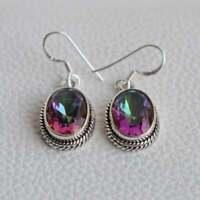 Solid 925 Sterling Silver Oval Shape Mystic Stone Handmade Earrings KGJ-E-1026