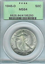 1945-D Walking Liberty Half Dollar : PCGS MS64