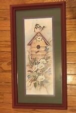 """Home Interior Singing Bird House Picture Daisy Flowers Burgundy Frame 22""""x12"""""""
