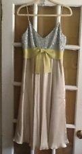 KAY UNGER DRESS Ivory beige SILK New nwt sz 10 Spaghetti Strap Sequins
