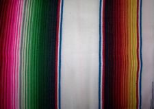 Large White Genuine Mexican Sarape HotRod Blanket Rug Picnic Throw 2 x 1.20m
