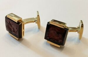 Vintage Sardonyx And Intaglio Cufflinks