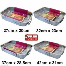 Stainless Steel Roasting Trays Oven Pan Dish Baking Roaster Tray Grill Rack 32cm X 23cm
