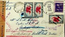 US 1940 PAIR + 2v ON WWII CENSOR AIRMAIL COVER TO DUTCH NED-INDIES