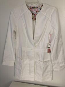 KOI  Women's Lauren Button Front Solid Cardigan Scrub Jacket- White Sz XS