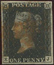 Great Britain 1840 1d Penny Black 'EJ' Plate 3. 4 Good Margins. Red Maltese X