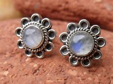 Handmade Moonstone Stud Sterling Silver Fine Earrings