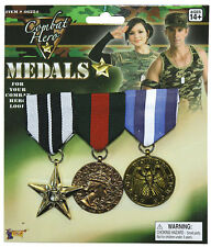 BRITISH Soldier Army G.I Fancy Dress Costume 3 Gold & Ribbon COMBAT HERO MEDALS