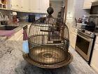 VINTAGE BRASS WIRE HENDRYX BEEHIVE BIRD CAGE WITH MILK GLASS FEEDERS