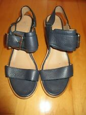 AQUATALIA Olympia Navy Blue Leather Strappy Sandals Stacked Heel 9