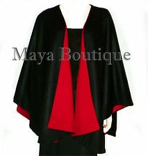Reversible Cape Ruana Wrap Coat Black & Red Cashmere Wool USA Made Maya Matazaro