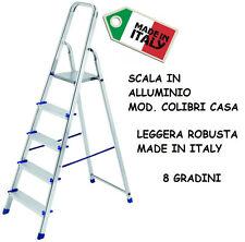 SCALA IN ALLUMINIO DOMESTICA COLIBRI CASA 8 GRADINI SUPER LEGGERA ROBUSTA ITALY