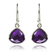 Teardrop Earrings Amethyst in 925 Sterling Silver.