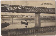 1910 - Piacenza - Il Po - Effetto con i 2 Ponti in ferro
