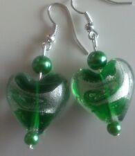 Lampwork bead drop dangle, silver plated earrings, green heart, silver stripe(64