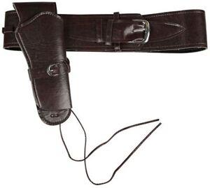 Deluxe Cowboy Holster Braunes Leder Look Gürtel Kostüm Western Zubehör
