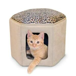 """K&H PET PRODUCTS 3891 Tan / Leopard THERMO-KITTY SLEEPHOUSE TAN / LEOPARD 17""""..."""
