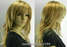 Fashion Long Brown Mix Light Blonde Straight Women's Lady's Hair Wig Wigs + Cap