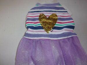 Gold GLITTER HEART Tulle Dog Dress new pet XS M Top Paw puppy XSmall Medium