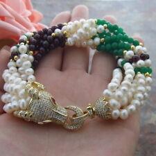 CZ pave cow Head  Clasp 8 Strds White Pearl Garnet Jade  8'' Bracelet