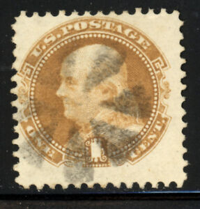 SCOTT #112 1869 1 CENT FRANKLIN REGULAR ISSUE USED F-VF CAT $100!