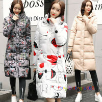 Womens Hooded Down Coat Zip Up Padded Parka Long Overcoat Slim Thicken Outerwear