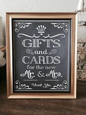 ~ Cards & Gifts Wedding Sign for Mr. & Mrs. 8x10 - Rustic Chalkboard/Gold/FRAMED
