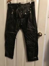 DSQUARED2 - DISTRESSED CROPPED BLACK LEATHER  PANTS w/ PYRAMID STUDS   - Size 42
