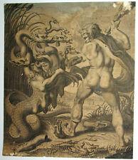 Cornelis BLOEMAERT (1603-1692) ANCIENNE GRAVURE HERCULE et L'HYDRE 1630 XVIIème