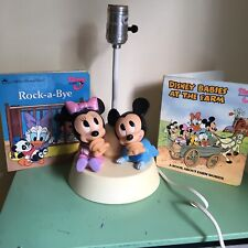 WORKS! 1984 VTG DISNEY Baby Mickey Minnie Mouse Table Lamp,night light no Shade