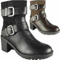 Womens Buckle Ankle Boots Biker Strappy Mid Heel Ladies Work Office Shoes Size