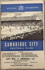 More details for cambridge city reserves v arsenal 'a' 1964/65 metropolitan league