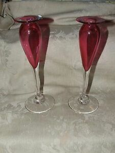 Tall Pink Cranberry Glass Candlesticks Bud Vases Clear Stems Z K S Studio Blown
