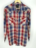 High Noon Men's Western Plaid Pearl Snap Button Down Long Sleeve Shirt. Size XL