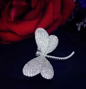 925 Solid Sterling Silver Dragon Fly Brooch Encrusted With Simulated Diamonds
