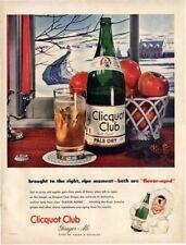 1946 Clicquot Club PRINT AD Pale Dry Ginger Ale Winter Scene