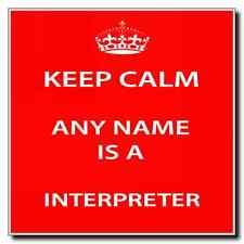Interpreter Personalised Keep Calm Coaster