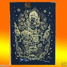 "Thai Amulet Lord Ganesha Black Yantra Cloth 15""x20"" Wat ProdSat AJ Surin BE2559"