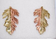 Black Hills Gold 14 kt Two Toned Large Leaf Earrings Coleman