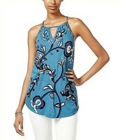 Women's Lucky Brand Embroidered Keyhole Tank, Size Large - Blue~NWT