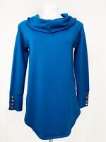 Soft Surroundings Blue Cowl Neck Long Sleeve Sweater Rose Gold Buttons Size XS