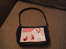 Lady Walking Poodle Small Black Purse with Red Gingham Liner