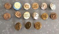 Vintage Lot Of 15 WWII, WW2 Military Brass Pinbacks