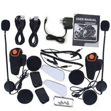2x 1000M Interphone BT Motorbike Motorcycle Helmet Bluetooth Intercom Headset FM
