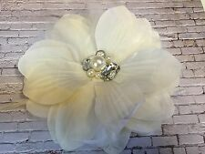 large Pearl & Diamante Cream Flower Brooch / Headpiece