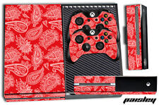 XBOX ONE 1 Skin Game Console Decal Plus Controller Stickers Bandana RED PAISLEY