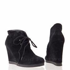 98142c60c82b Nine West Naomio Women s Shoes Black Suede Lace Up Wedge Ankle Boots Sz 9.5  M
